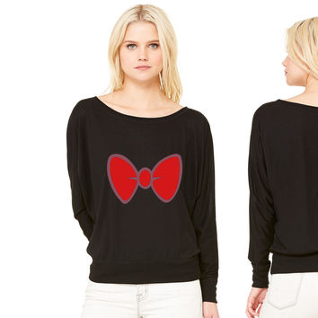 Mickey Mouse style cartoon bow tie for dressing up women's long sleeve tee