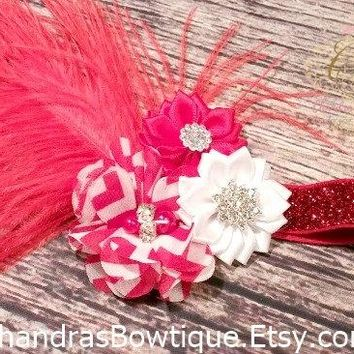 Baby Girl Red Fancy Feather Headband / Baby Girl Headband / Baby Headband / Red Headband / Red and White Headband / Red Hair Bow / Girls