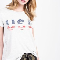 Ivory USA Flag Short Sleeve Top