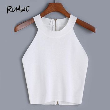 ROMWE New Arrival Vogue Sale Korean Style Designer Women's High Street Sexy Brand Halter Zipper Knit Tank