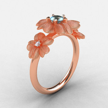 14K Rose Gold Aquamarine Diamond Flower Wedding Ring, Engagement Ring NN107-14KRGDAQ