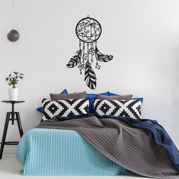 Boho Dreamcatcher Decal- Dream Catcher Wall Decal Bedroom- Native American Dream Catcher Vinyl Wall Decal Boho Bohemian Bedroom Decor #132
