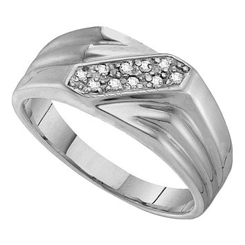 Sterling Silver Men's Round Prong-set Diamond Diagonal Double Row Band Ring 1/10 Cttw - FREE Shipping (US/CAN)