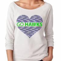 SEAHAWKS. T-shirts.  Seahawks. Football. Go Hawks. Womens Slouchy sweatshirt. Ladies Slouchy. 3/4 Sleeve Off Shoulder