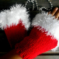 Christmas Gloves,Knitted Gloves,Red Gloves,Handmade,Crochet Gloves,Hand Warmers,Fingerless Gloves,Winter Gloves,Women Gloves,Gift Ideas