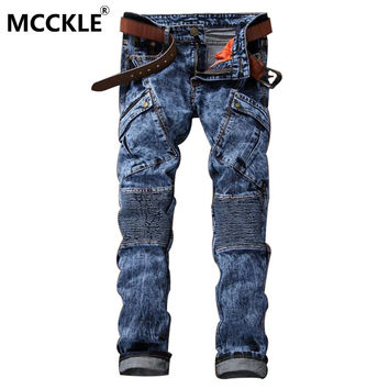 Men's Motorcycle Denim Joggers Designer Cargo Jean Multi Pockets Slim Fit Pleated