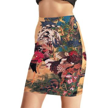 New Chickens Women Sexy High Waist Skirts Tennis Bowling Skirts Slim 3D Chinese Style Elastic Female Girls Party Apparel S-4XL