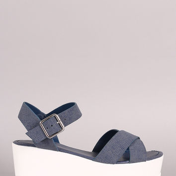 Bamboo Denim Crisscross Ankle Strap Lug Sole Fatform Wedge