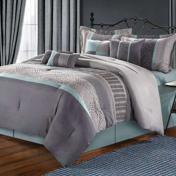 Euphoria Grey & Blue Embroidered 8-Piece Comforter Set by Luxury Home - 8-Piece Sets - Microfiber