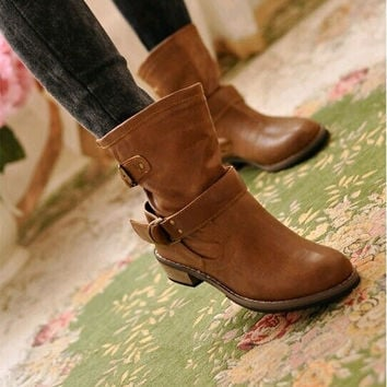 Spring and Autumn Fashion Woman's Martin Boots Flat Vintage Buckle Motorcycle Shoes = 1946458948
