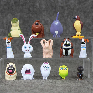 Cute 14pcs/lot PVC The Secret Life of Pets Snowball Gidget Mel Max Duke Dog Cat Rabbit Action Figure Toy