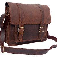 Rugged Leather Bag leather shoulder bag purse women handbag camera satchel ipad crossbody bag