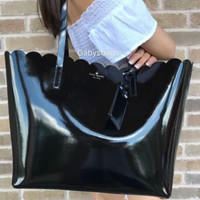 Kate Spade Lily Avenue Patent Large Carrigan Scallop Tote Black Patent