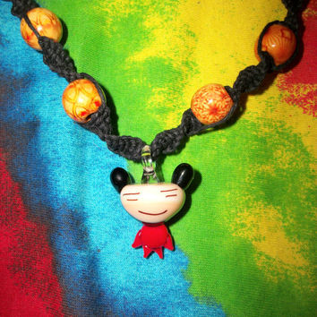 SALE Glass Pucca Kawaii Hemp Necklace