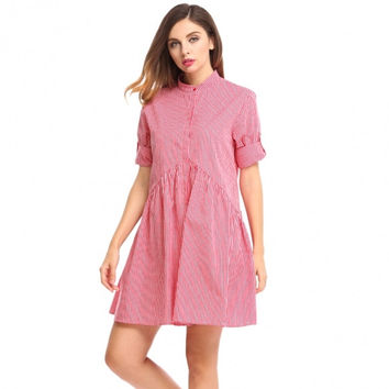 Women Long Sleeve Plaid Button Down A-Line Short Shirt Dress