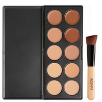10 Colors Makeup Face Cream Concealer Palette + Powder Brush/ Puff Sponge