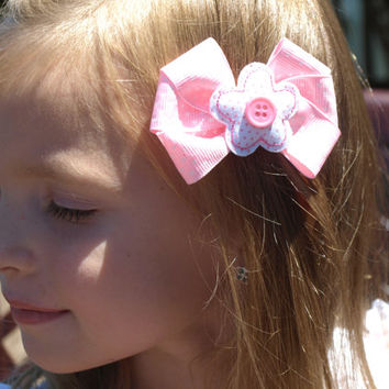 pink and white polka dot flower hair bow- girly accessories- back to school