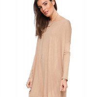 Long Drop Shoulder Sleeve Mini Loose Dress
