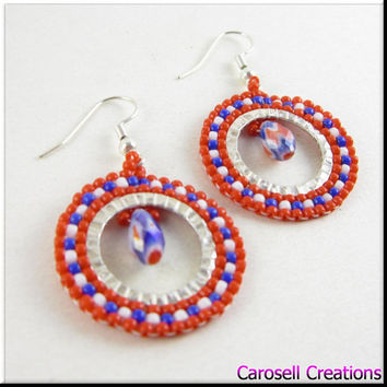 Hoop Seed Bead Earrings Beadwork in Red, White and Blue With Tear Drop