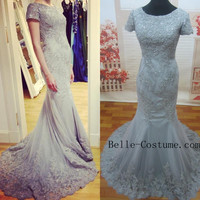 Mermaid Lace Prom Dress, Mermaid Lace Prom Dresses, Mermaid Lace Evening Dresses