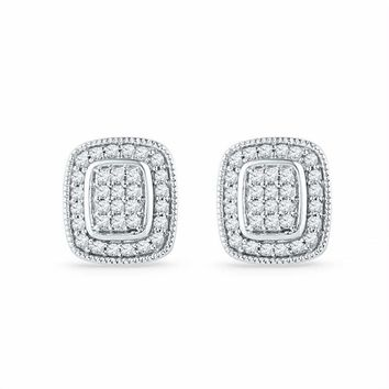 10kt White Gold Women's Round Diamond Square Cluster Stud Earrings 1-4 Cttw - FREE Shipping (US/CAN)