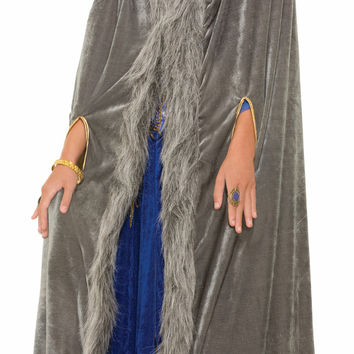 Faux Fur Trimmed Cape - Gray - Fml