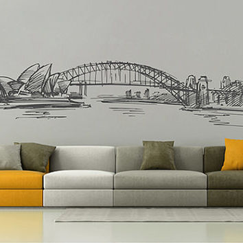 kik2538 Wall Decal Sticker Sydney Australia Opera House city of bedroom living room