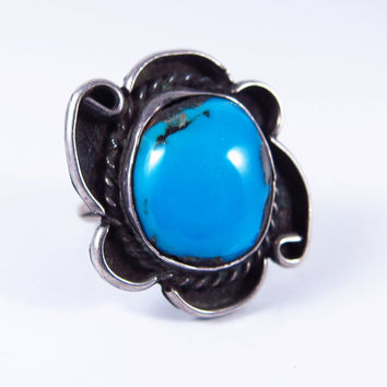 Vintage Navajo Ring, Sterling Silver Vintage Turquoise Ring, Native American Ring, Southwest Ring, Vintage Turquoise Ring, Size 7.25