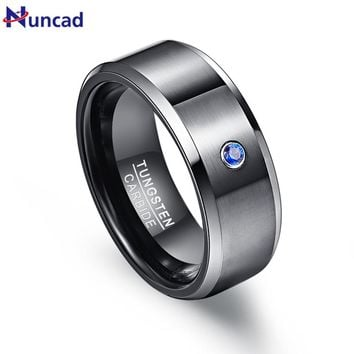 Pierscienie 8mm Men Ring 100% Tungsten Carbide Zircon Black Wedding Bands Engagement Anillos para hombres