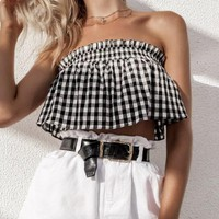Sexy Black White Plaid Flounce Strapless Brief Paragraph Top