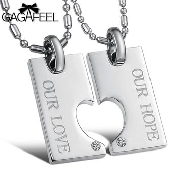 GAGAFEEL Men Pendant Necklace Stainless Steel Fine Jewelry For Couples Crystal Natural Stone Love Heart Simple Design N602