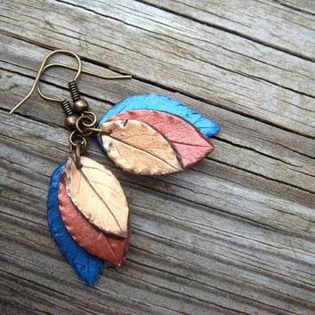 Leaf Earrings  Blue Bronze and Copper  Polymer Clay by JustClayin