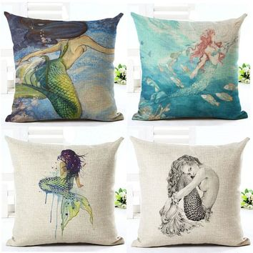 Sexy Mermaid pattern Marine Style Cushion Cover Customized Throw Pillow Home Decorative Cotton Linen Square Printing Cojines