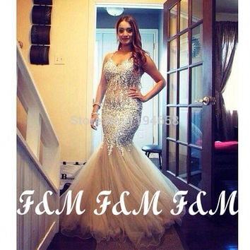 Special Occasion Elegant Mermaid Prom Dresses Crystal Unique Design Sexy 2014 Halter Evening Gowns Pageant Party Dress
