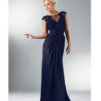 Navy Chiffon Floral Cap Sleeve Gown Prom 2015