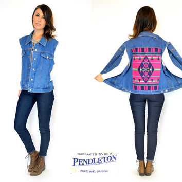 vintage 1980s oversized PENDLETON blue jean vest w/ SOUTHWESTERN design wool BLANKET back, medium-large
