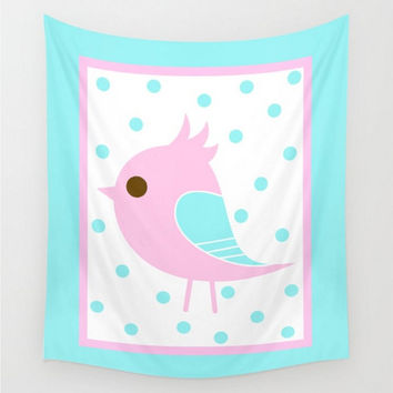 Wall Tapestry Pink Aqua Polka Dots Baby Girl Boy Nursery Pastel Colors Blue Child's Child Bedroom Home Decor