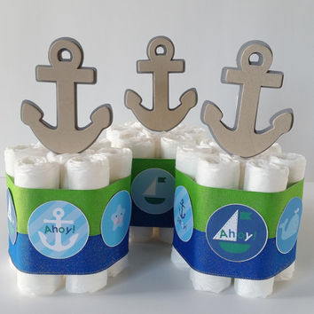 Nautical Mini Diaper Cakes, Nautical Baby Shower Centerpieces, Sailor Diaper Cake, Ahoy It's A Boy Baby Shower Decor, Blue and Green