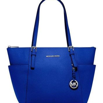 GPFN MICHAEL Michael Kors Jet Set Large Top-Zip Leather Tote in Electric Blue Tagre-
