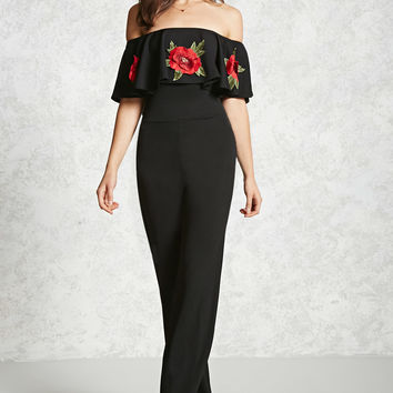 Embroidered Flounce Jumpsuit