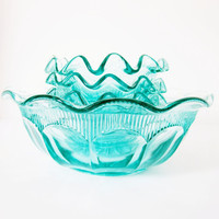 Bohemian Glass Bowl Set Czechoslovakia Vintage Aquamarine Teal Blue