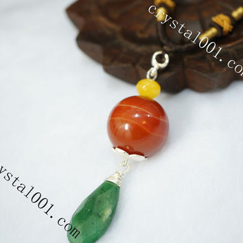 Long Chain Stone Necklace -  Emerald Jade Necklace - Genuine Agate Necklace - Agate Earrings - Gift For Mom - Root Chakra Healing