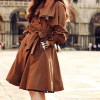 Red-Brown /  Khaki Recreational dust hooded  long-sleeved jacket dress spring and autumn period and the new product---CO005