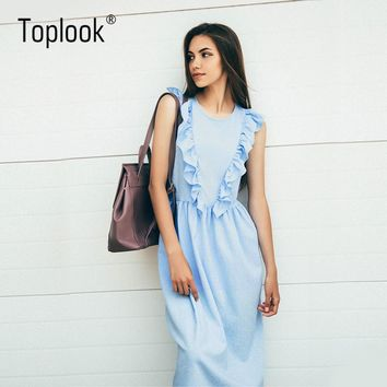 Toplook Ruffles Pleated Women Summer Dress 2017  Sky Blue Elegant Vintage Long Party Dresses Floral Beach Wonder woman Dress