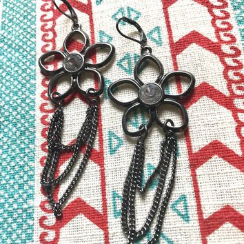 Boho Glam Chained Openwork Daisy Gunmetal Silvertone Dangles with Ice Gem Centers
