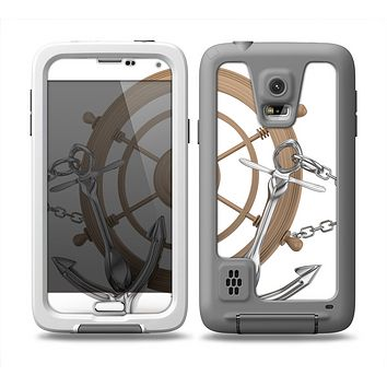 The Nautical Captain's Wheel with anchors Skin Samsung Galaxy S5 frē LifeProof Case