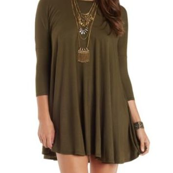 Olive Dropped Shoulder Trapeze T-Shirt Dress by Charlotte Russe