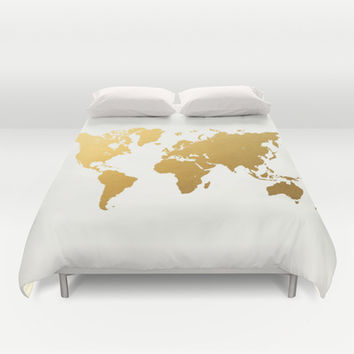 Gold Foil World Map Duvet Cover by Samantha Ranlet