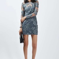 Long Sleeve Applique Mini Dress