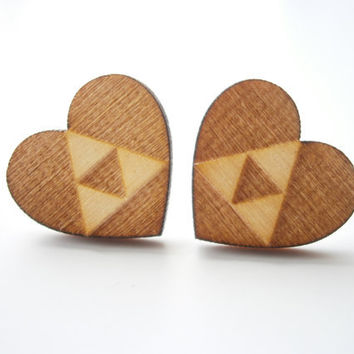 Legend of Zelda Triforce  Earrings, Engraved Zelda Triforce, Laser Cut Wooden Heart Stud